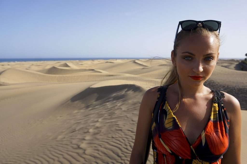 Portrait in the sand dunes of maspalomas gran canaria