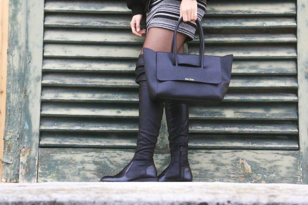 Julia Kays Black Leather Bag Close Up