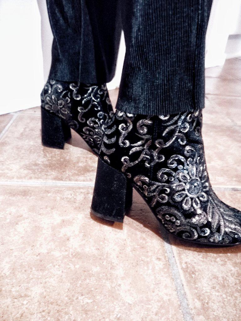 black velvet boots gold & gold boots