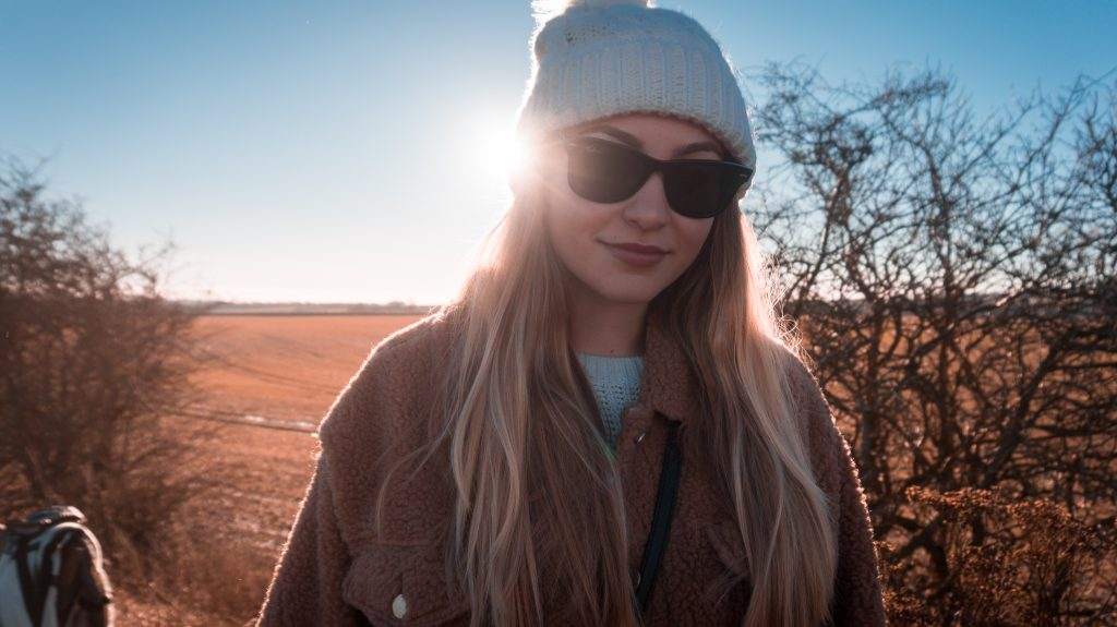 ootd outfit of the day taking a walk winter outfit beanie rayban sunglasses teddy jacket