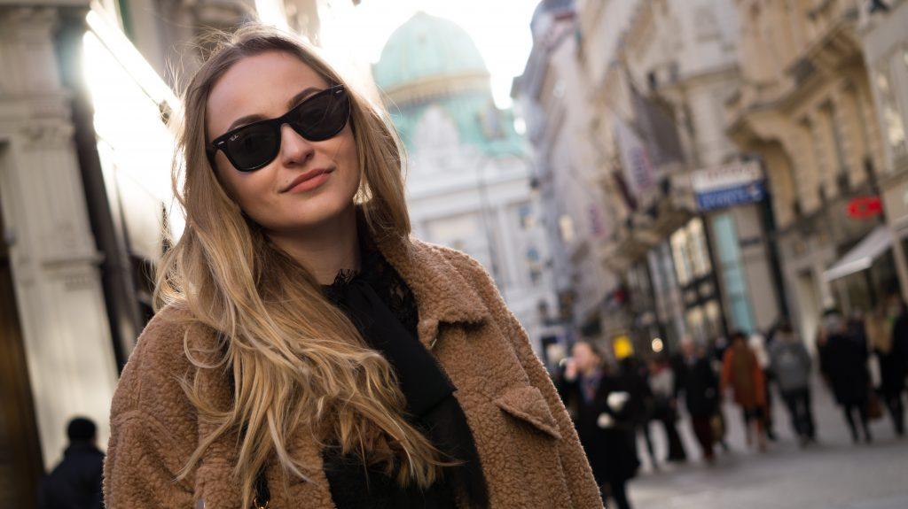 vienna city center close up teddy jacket rayban glasses