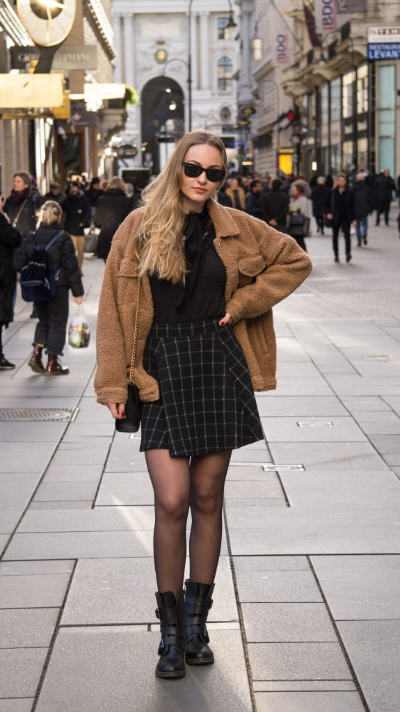 vienna city center close up teddy jacket rayban glasses ootd outfit of the day