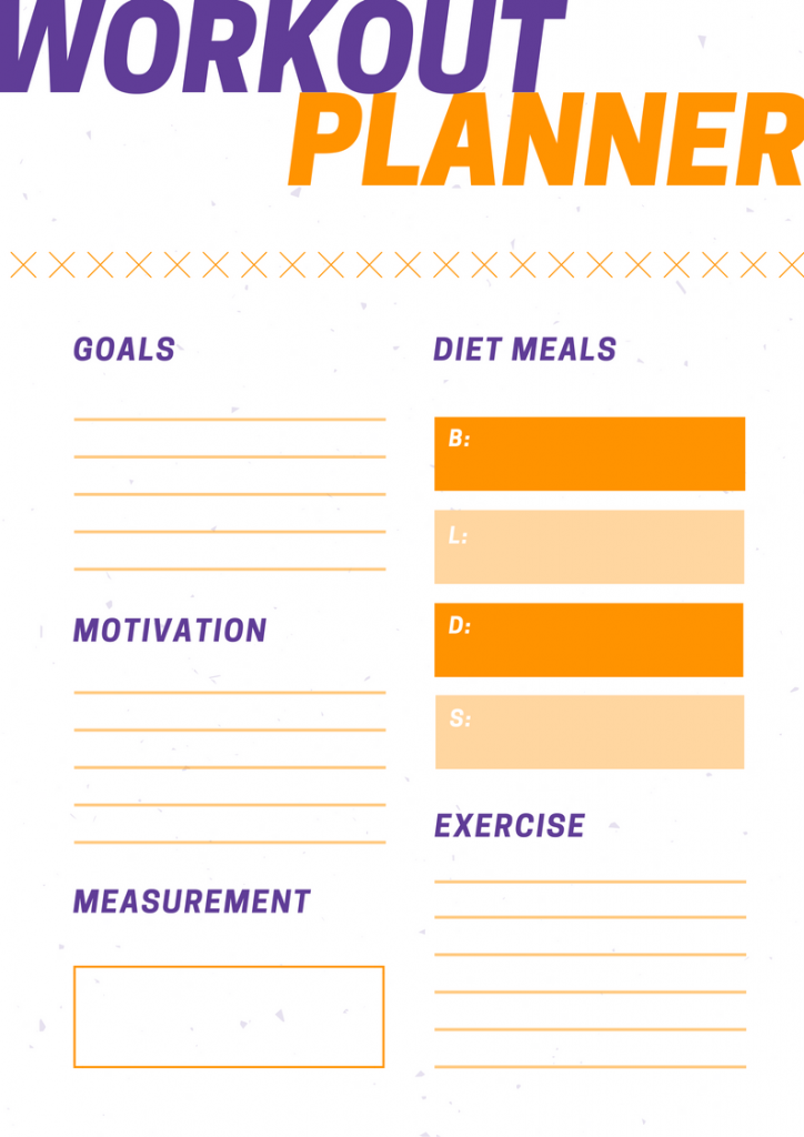workout planner purple orange goals workout goals gym healthy lifestyle training