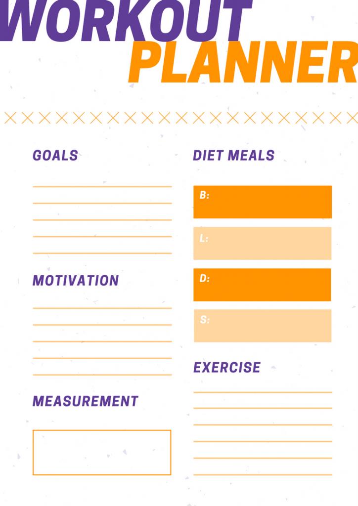 workout planner purple orange goals workout goals gym healthy lifestyle training