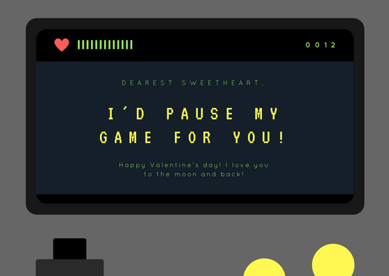 funny valentines day card for the gamer