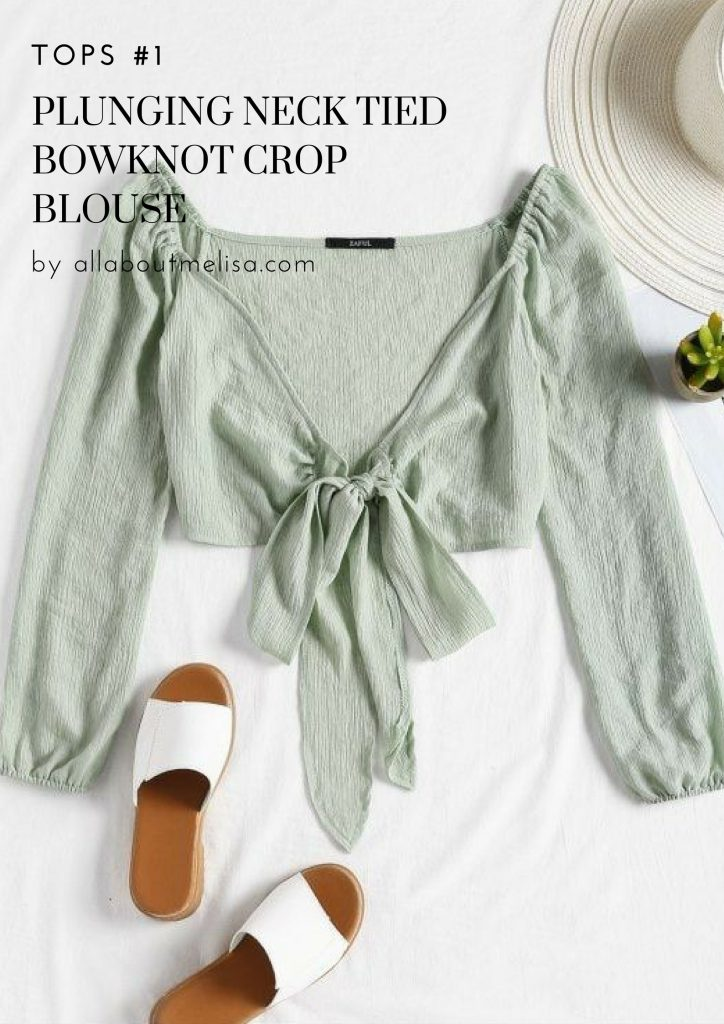 spring shopping zaful plunging neck bowknot crop blouse