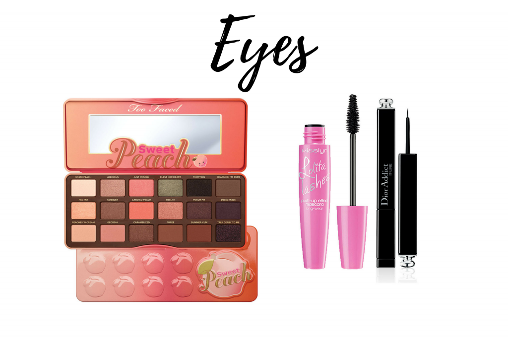 makeup for blue eyes too faced sweet peach palette misslyn lolita lashes dior addict eyeliner