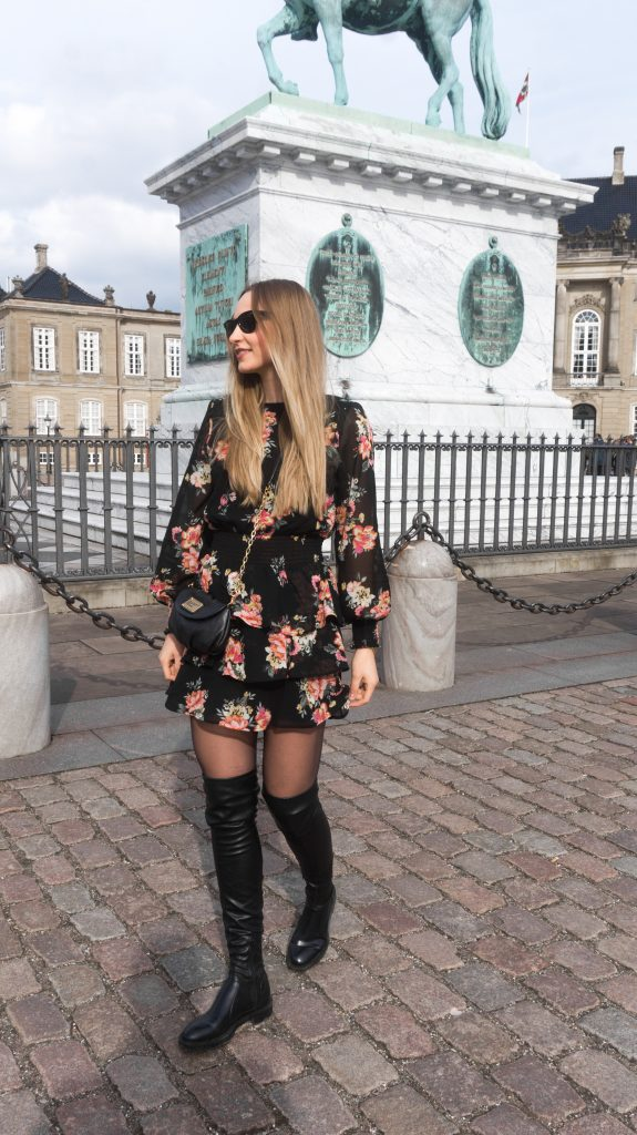 spring florals flower power flower dress copenhagen denmark overknees marc jacobs bag raybans ginatricot dress