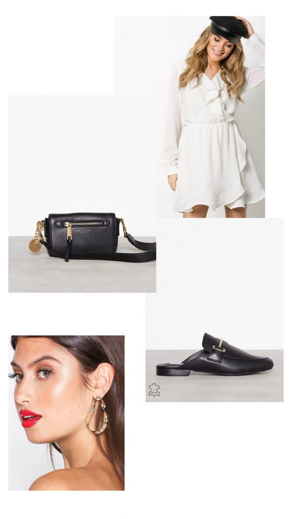 what to wear to work white dress marc jacobs bag sliders gold earrings business casual wear women