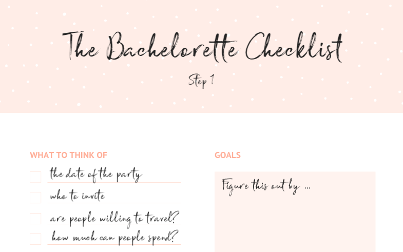 how to plan a bachelorette party hen party bridal shower planning template checklist event planning