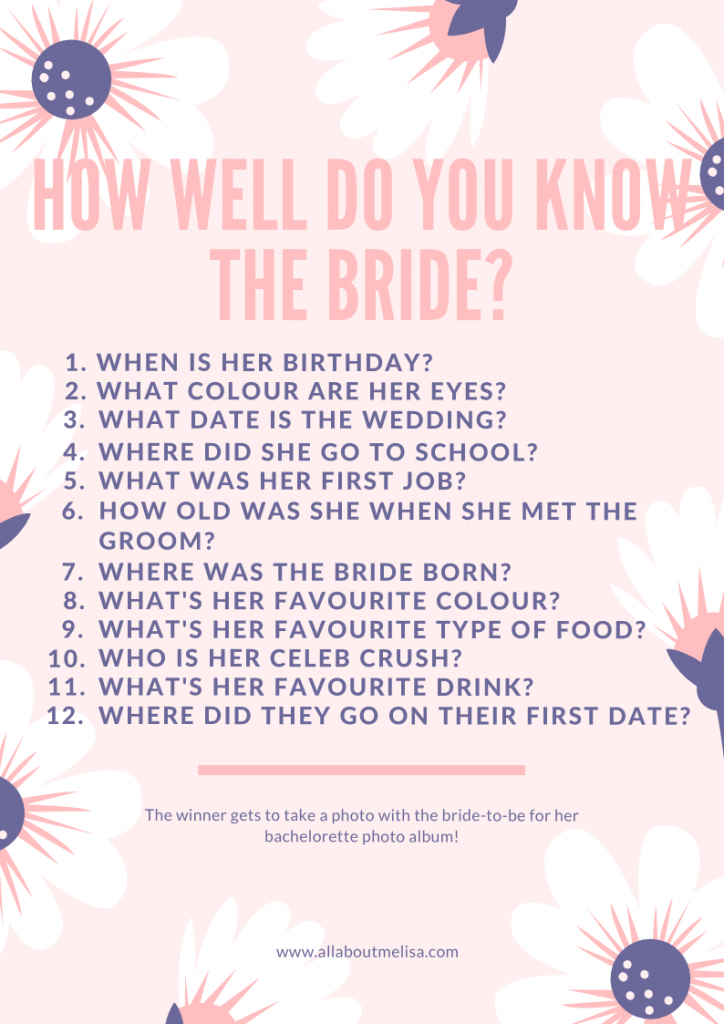 How Well Do You Know The Bride bridal shower game bridal games bachelorette games