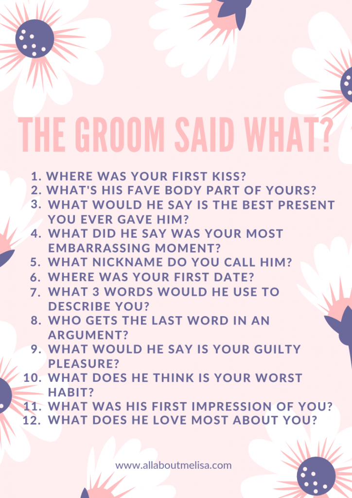 The Groom Said What bridal shower game bridal games bachelorette games