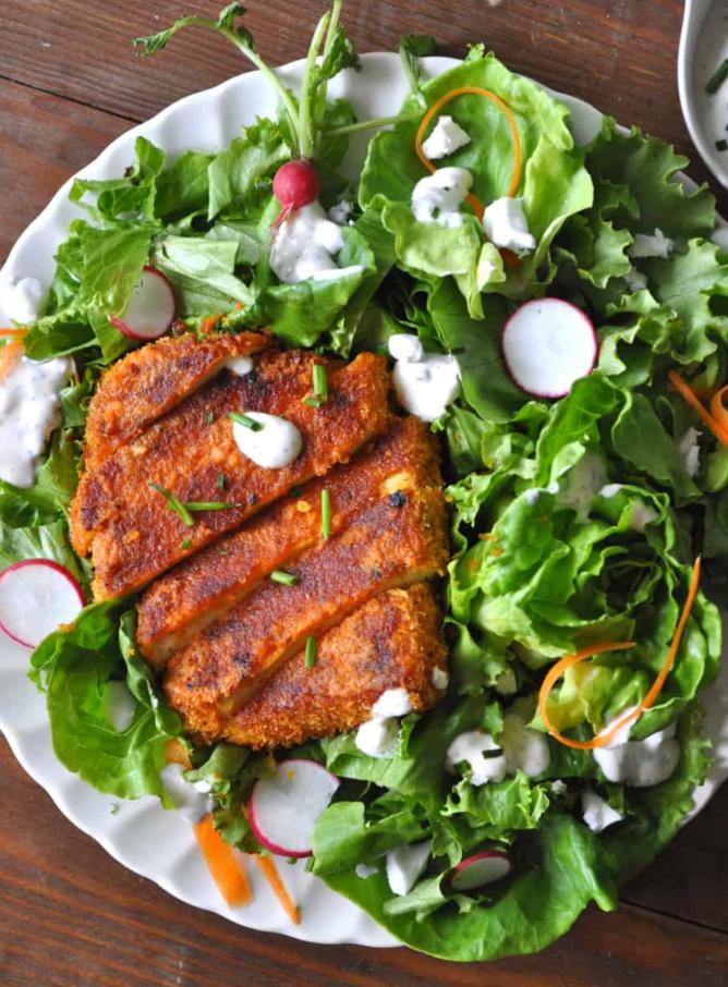 crispy buffalo tofu vegan plantbased dinner recipe