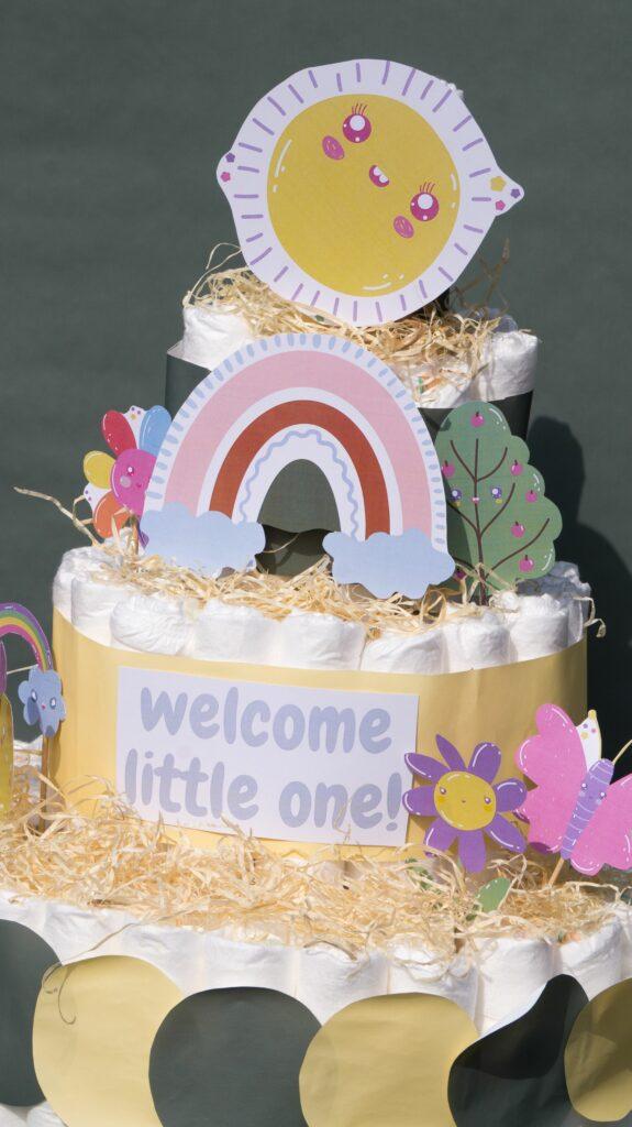 3 tier spring themed diaper cake for boy or girl