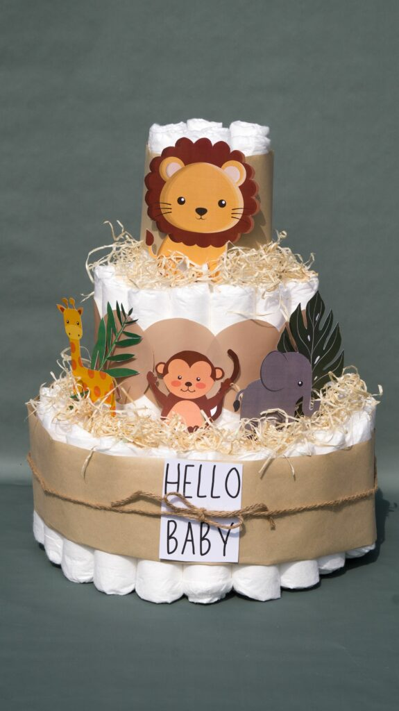 3 tier jungle themed diaper cake for boy or girl