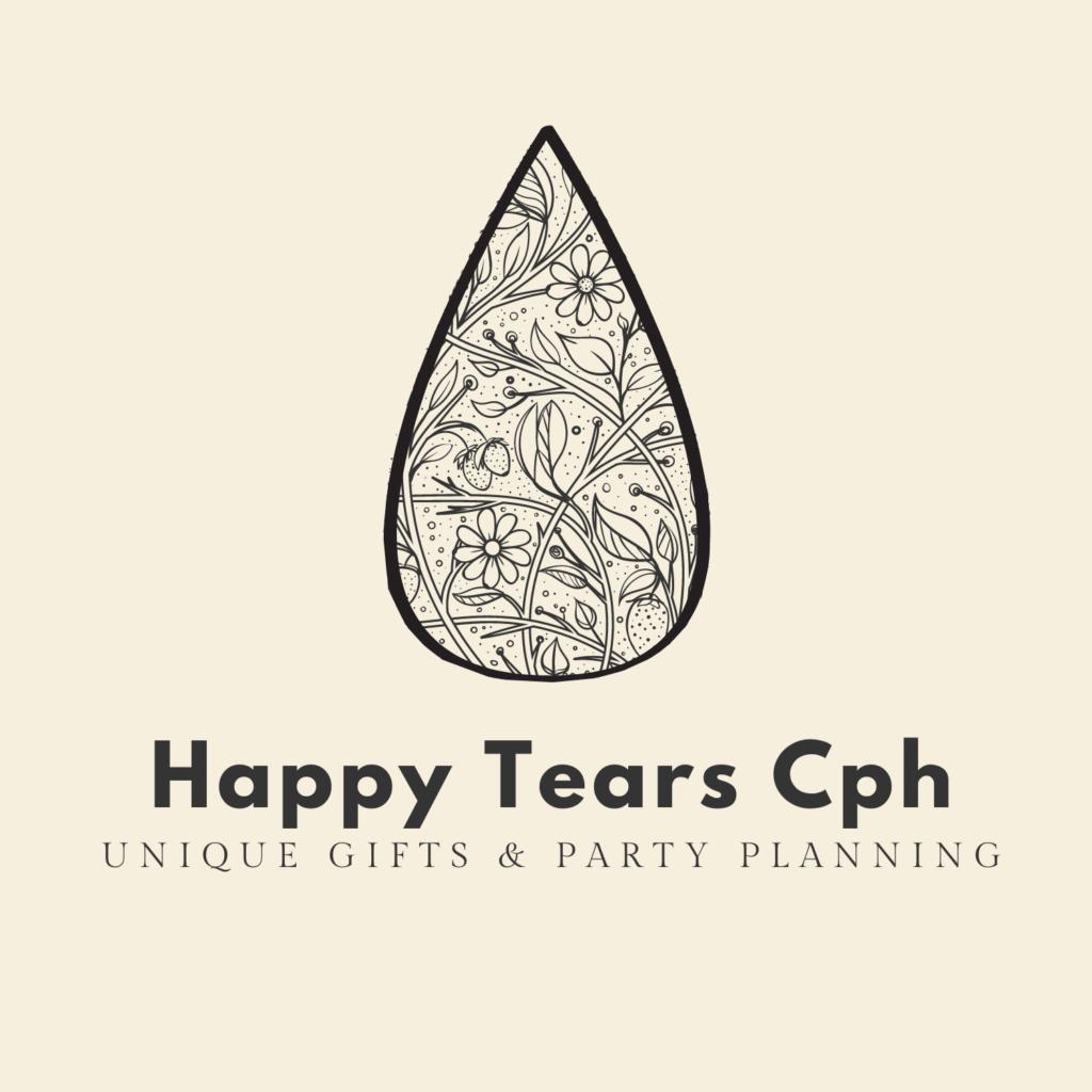 tear drop filled with flowers, logo of Happy Tears Cph