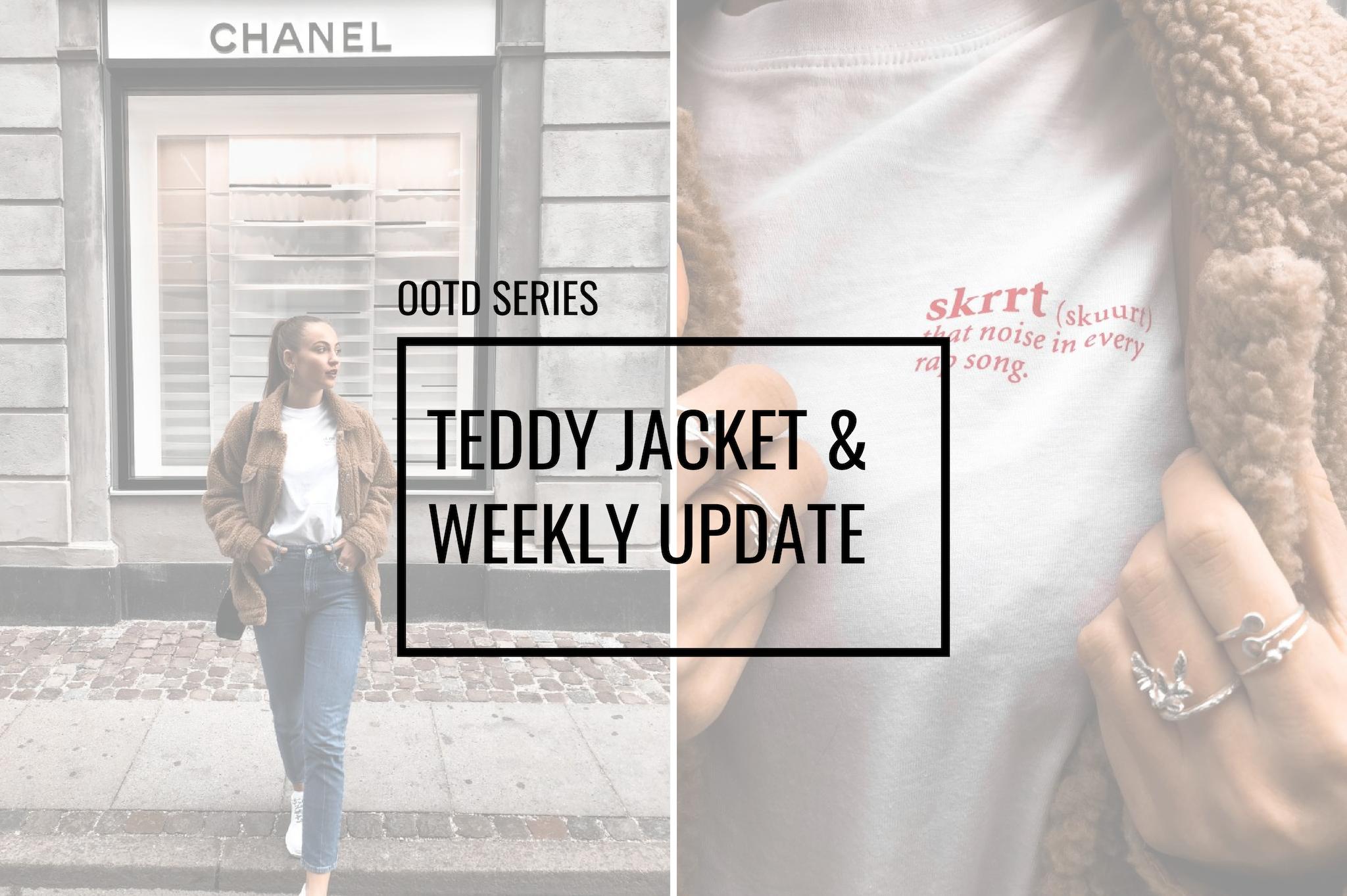teddy jacket ootd snipes tshirt skrrt white tshirt look jeans denim style of the day fashion inspo